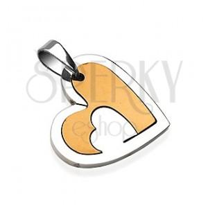 Edelstahlanhänger, Herz mit Schlitzloch, silberne und kupferne Farbe