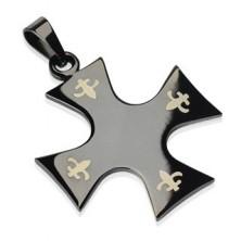 Anhänger aus Chirurgenstahl - Kreuz in schwarzer Farbe, Fleur de Lis