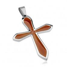Kettenanhänger aus Chirurgenstahl, Kreuz mit brauner Emaille