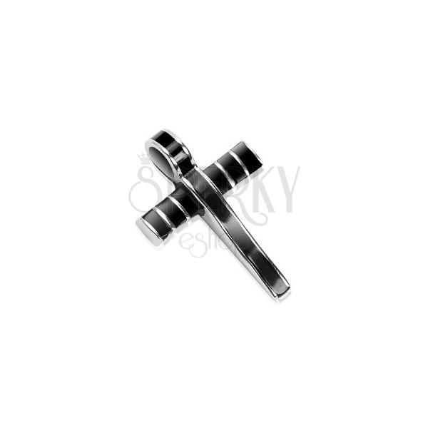 Edelstahlanhänger - massives Kreuz mit schwarzer Glasur