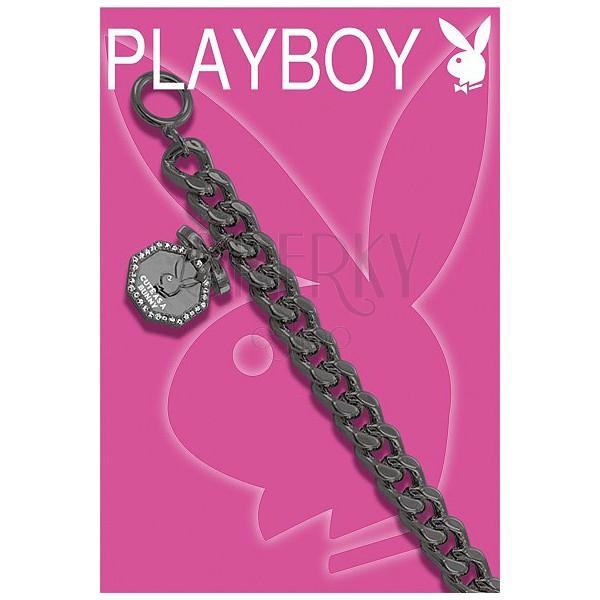Breites PLAYBOY Armband in Schwarz mit Bunny im Achteck
