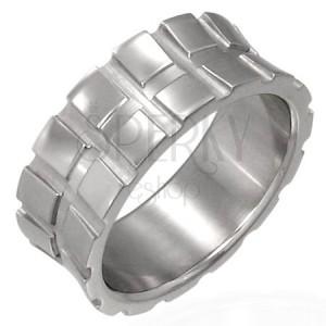 Silberner Ring aus Chirurgenstahl - kleine Quadrate