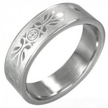Ring aus Edelstahl mit Ornament, Sandoptik