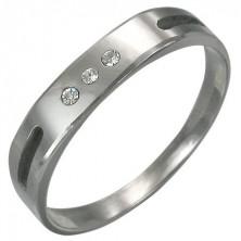 Tungsten Ring mit Aussparung und drei Zirkonia