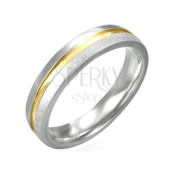 Ring aus Edelstahl mit goldener glänzender Mitte