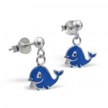 Ohrhänger aus Silber 925 - glücklicher Delphin