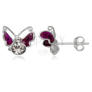 Ohrringe aus 925 Silber - fliegender Schmetterling in Violett, Punkte