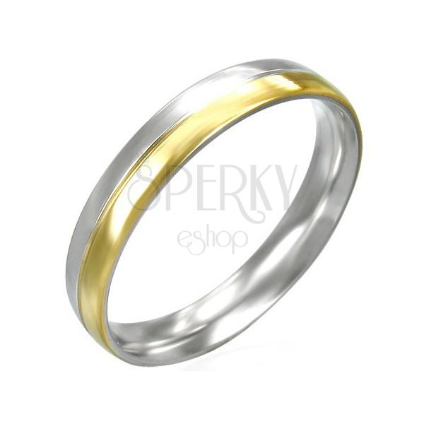 Silber-goldfarbener Damenring aus Edelstahl