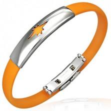 Flaches Silikonarmband - Motiv Stern, orange Farbe