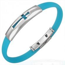 Armband aus Gummi - motiv Kreuz, aqua blau