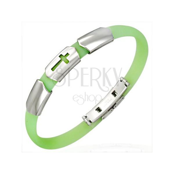 Limettengrünes Silikonarmband mit Stahl Verzierung und Kreuz