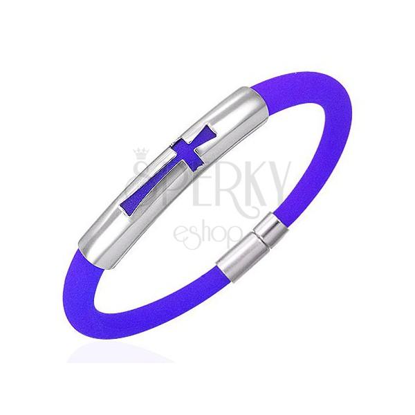 Rundes blaues Silikonarmband mit Edelstahlplatte und Kreuz