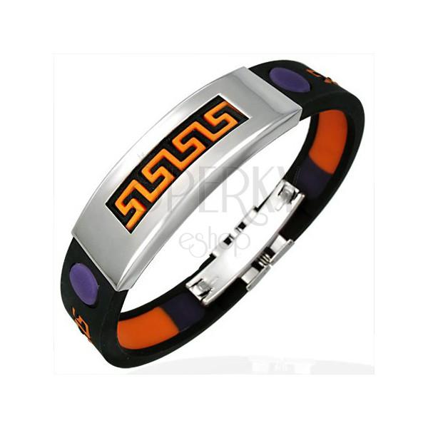 Gummiarmband mit Aztek Muster, orange und violette Farbe