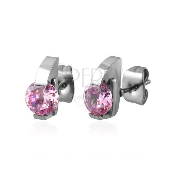 Ohrstecker aus 316L Stahl mit Halbbogen und rosa Zirkoniastein