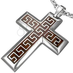 Kreuzanhänger aus Stahl - Aztek Muster auf braunem Hintergrund