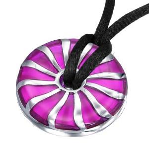Runder violetter Anhänger aus Edelstahl mit Spiralmuster