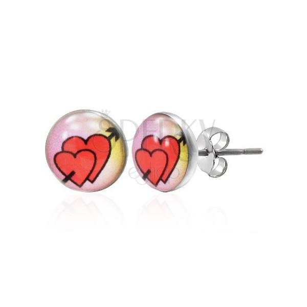 Ohrstecker aus 316L Stahl - verliebte Herzen mit Pfeil