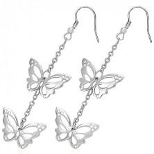 Ohrhänger aus Chirurgenstahl - geschlitzte Schmetterlinge an Kette, Haken