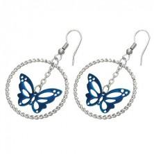 Silberfarbene Edelstahlohrringe, blauer Schmetterling im Kreis, Haken