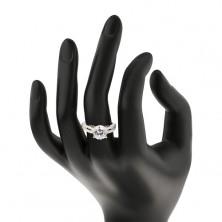 Silber 925 Verlobungsring  mit Zirkon und Zirkonstreifen