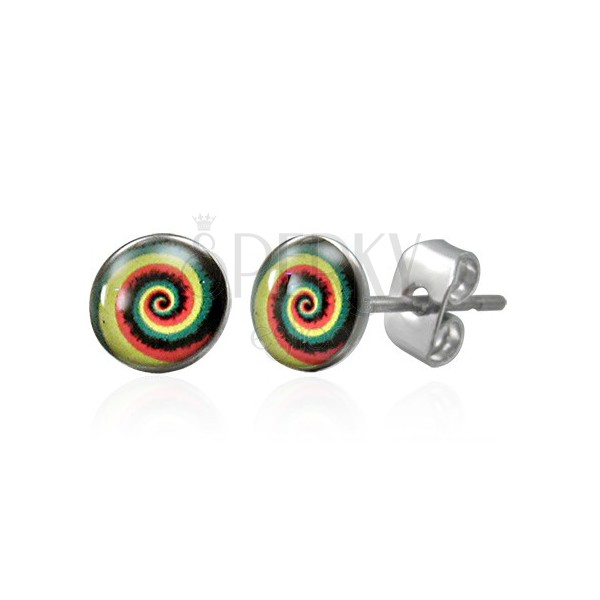 Ohrstecker aus Chirurgenstahl mit farbiger Spirale