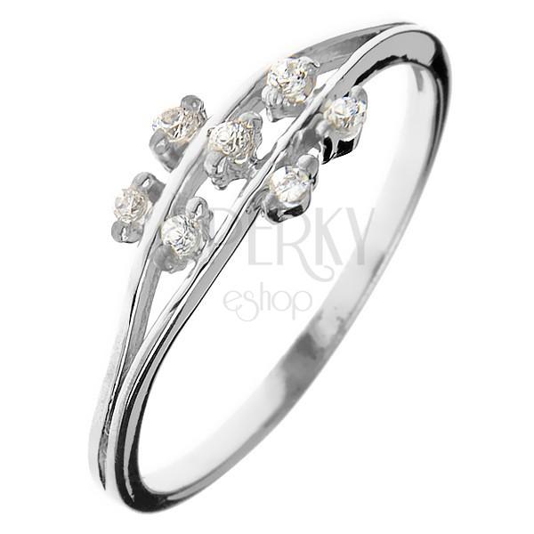 Ring aus Silber 925 - kleine Zirkonblumen auf Stengel