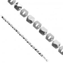 Silberner 925 Armband - strahlende Teile und Teile in Gitteroptik