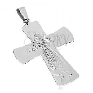 Anhänger aus Chirurgenstahl, Jesus am Kreuz, silberne Farbe