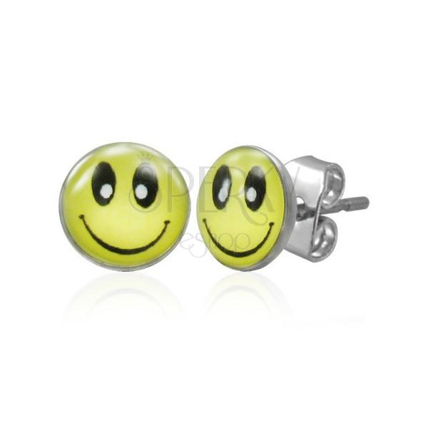 Ohrstecker aus Edelstahl, gelber Smiley