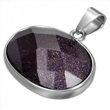 Ovaler Edelstahlanhänger besetzt mit violettem Halbedelstein