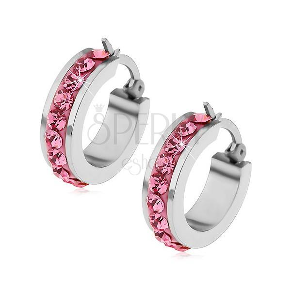 Ohrringe aus Chirurgenstahl mit rosa Zirkoniasteinen am Umfang