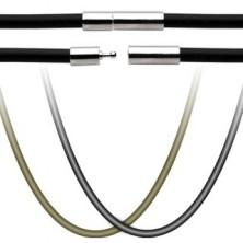 Gummi Halskette mit Edelstahlverschluss
