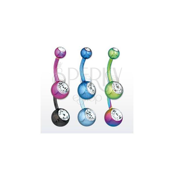 Stahl Bauchnabelpiercing - Kugeln mit glitzernden Zirkonen, verschiedene Farben, Länge 11 mm